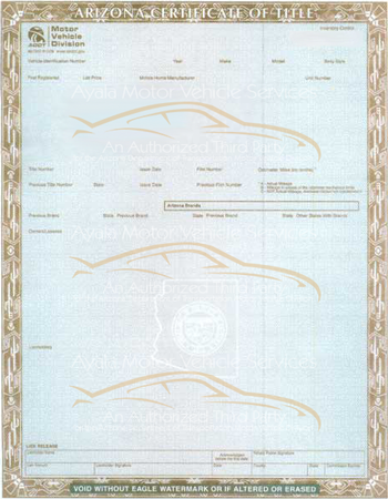 Arizona Certificate of Title