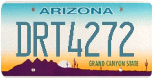 Arizona Regular License Plate